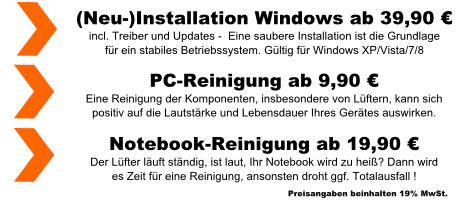 PC-Reinigung, Notebook-Reinigung, Installation Betriebssystem